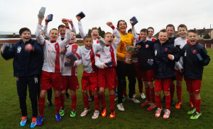 The young Spartans celebrate at the end of the game. (Picture: Susie Raeburn)