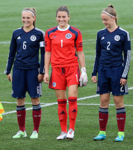 Eartha Cummings (centre) lines up for Scotland