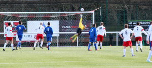 A Paul Dickson freekick from around 30 yards beats the keeper but crashes of the bar.