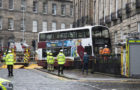 Double-decker bus collides with building in Stockbridge